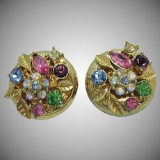 Delightful Signed Vintage Coro Floral Rhinestone Clip Earrings