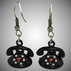 Vintage Novelty Pierced Earrings Figural Rotary Telephone