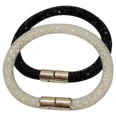 Signed Swarovski Retired Vintage Fishnet Tube Clear Crystal Bracelet Black White