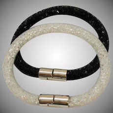 Signed Swarovski Retired Vintage Fishnet Tube Clear Crystal Bracelet Black White