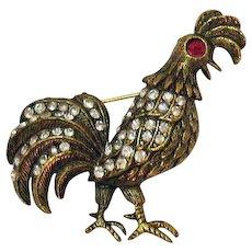 Fabulous Vintage Figural Rooster Rhinestone Brooch