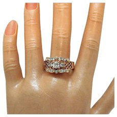 Signed RJ Graziano Avon Vintage Rose Gold Cubic Zirconia Band Ring