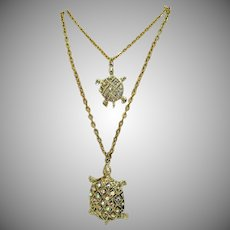 Vintage Figural Double Turtle Rhinestone Pendant Necklace Double Chain