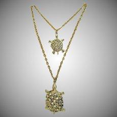 Vintage Figural Double Turtle Rhinestone Pendant Necklace Double Chain