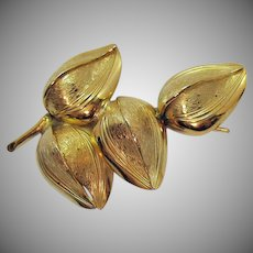 Signed Giovanni Golden Floral Vintage Brooch