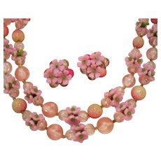 Signed Hong Kong Vintage Pink Flower Plastic Beaded Necklace Earrings Set