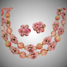 Signed Hong Kong Vintage Pink Flower Plastic Beaded Necklace Earrings Set