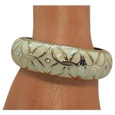 Bold Vintage White Epoxy Hinged Bangle Bracelet