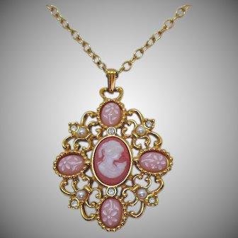 Signed Avon Romantic Poet Necklace Vintage Cameo Portrait Miniature Floral Glass Pendant Unworn 1994
