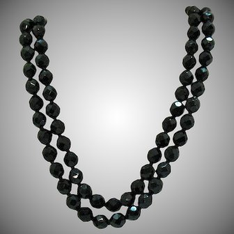 Vintage Black Glass Faceted Beaded Hand Knotted Double Strand Necklace