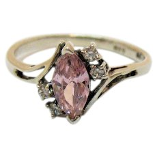 Vintage CZ Sterling Silver Signed 925 DC Pink Marquise White Chatons Ring