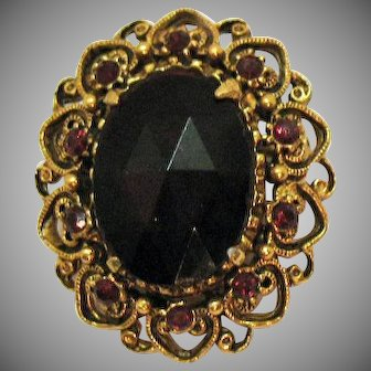 Signed Florenza Vintage Red Rhinestone Heart Brooch
