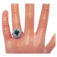 Signed UNCAS Manufacturing Company Vintage Rhinestone Faux Jade Ring