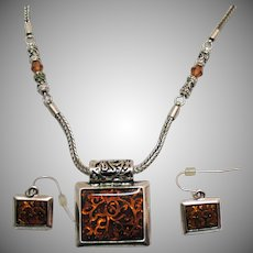 Signed Premier Design Vintage Tigress Necklace Pierced Earrings Set Unworn Original Tag