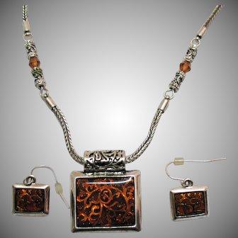 Signed Premier Design Vintage Tigress Necklace Pierced Earrings Set Unworn Original Tag