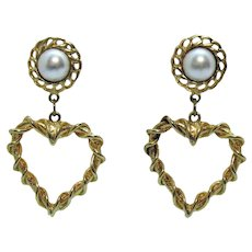 Bold Vintage Heart Faux Pearl Pierced Earrings