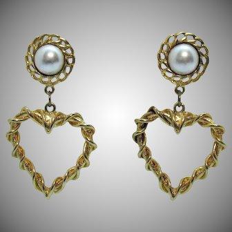 Bold Vintage Heart Faux Pearl Pierced Earrings