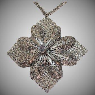 Unique Vintage Wire Wrapped Silver Pendant Necklace