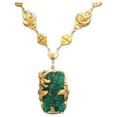 50 % Off Gorgeous Art Nouveau Antiques Victorian Jade Glass Brass Necklace