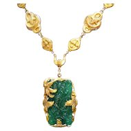 Gorgeous Art Nouveau Antiques Victorian Jade Glass Brass Necklace