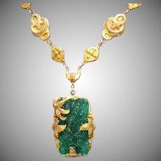 Gorgeous Art Nouveau Antiques Victorian Jade Glass Brass Necklace