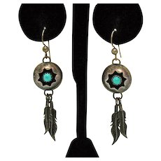 Native American Indian Signed MS Vintage Sterling Silver Turquoise Pierced Earrings