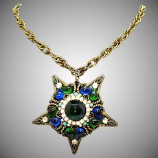 Rare Signed SA Vintage Pored Glass Rhinestone Turquoise Beaded Star Necklace