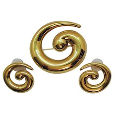 Signed Monet Vintage Golden Swirl Brooch Pierced Earrings Set