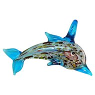 Hand Blown Art Glass Vintage Figural Dolphin Pendant