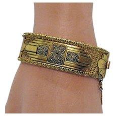 Vintage Solid Mesh Art Deco Style Hinged Wide Bangle Bracelet