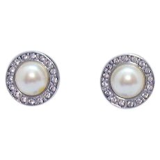 Signed Monet Vintage Faux Rhinestone White Pearl Cabochon Pierced Earrings