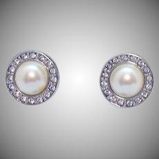 Signed Monet Vintage Faux Rhinestone White Pearl Cabochon Pierced Earrings