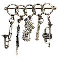 Unusual Vintage Figural Musical Instruments Silver Charm Holder Brooch