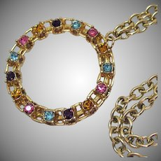 Unusual Signed Sarah Coventry Vintage Rhinestone Pendant Necklace