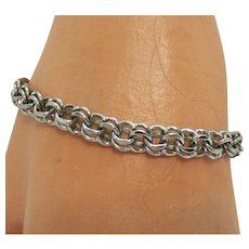Perfect Signed W Vintage Sterling Silver Double Link Charm Bracelet