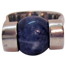 Sterling Silver 925 Lapis Vintage Modern Style Cigar Band Ring