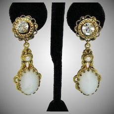 Gorgeous Signed West Germany Vintage Clip Earrings White Moonstone Rhinestone Pearl Brass Dangles