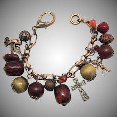 Unique Vintage Copper Charm Bracelet Figural Lucite Wood Charms