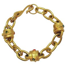 Vintage Etruscan Brush Yellow Gold Plated Rhinestone Heavy Link Bracelet