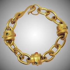 Vintage Etruscan Brush Yellow Gold Plated Rhinestone Heavy Link Bracelet