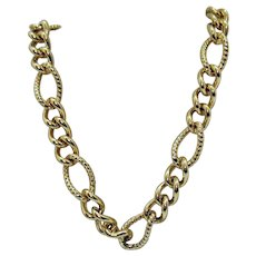 Signed Trifari Vintage Big Bold Heavy Link Golden Chain Necklace 106.8 Grams!!