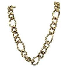 Signed Trifari Vintage Big Bold Heavy Link Golden Chain Necklace 106.8 Grams!!