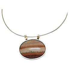 Vintage Landscape Picture Agate Pendant Sterling Silver Omega Necklace