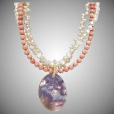Gorgeous Angle Skin Coral Cultured Pearl Three Strand Necklace Vintage  Blister Pearl Pendant Sterling 925
