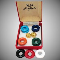Signed KJL Kenneth Jay Lane Vintage Lucite Lion Head Interchangeable Clip Earrings Set Original Box