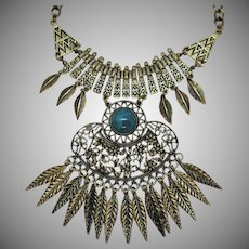 Magnificent American Indian Influence Vintage Metal Bib Faux Turquoise Necklace