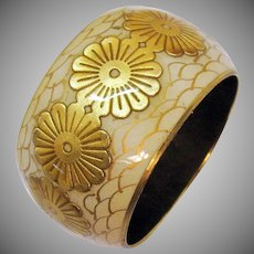 Vintage Bold Brass Signed Brass Bangle Bracelet Lucite Enameled Leather Flower