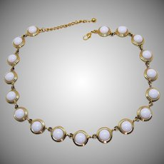Signed Napier Vintage Summertime White Glass Beaded Necklace