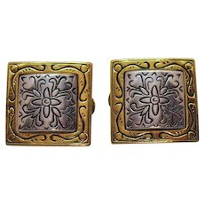 Signed Premier Jewelry Company Vintage Mixed Metal Convertible Pierced or Clip Earrings