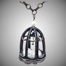 Vintage Figural Bird in Cage Antiqued Brass Metal Faux Pearl Necklace